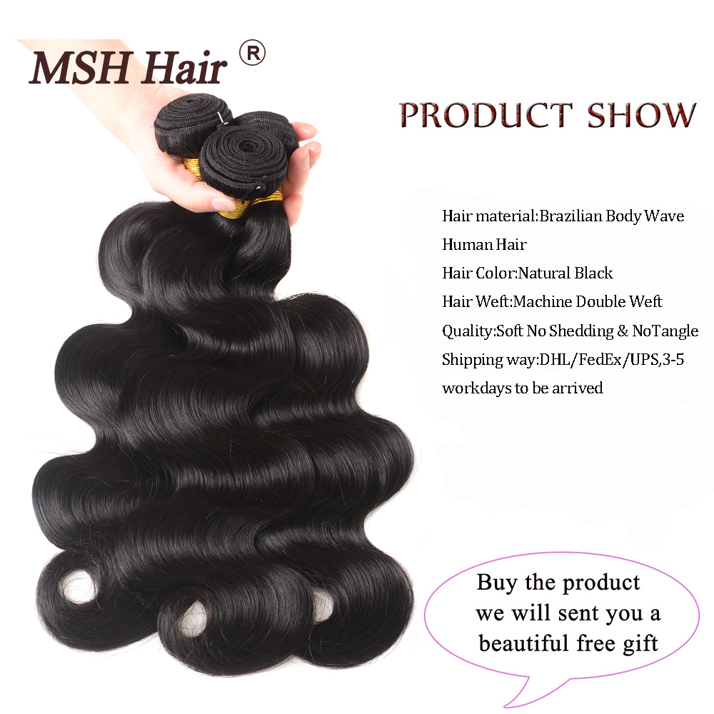 MSH Hair Brazilian Body Wave Human Hair Weave Bundles With 4 4 Lace Closure 130 Density MSH Hair Brazilian Body Wave Human Hair Weave Bundles With 4*4 Lace Closure 130% Density Non Remy