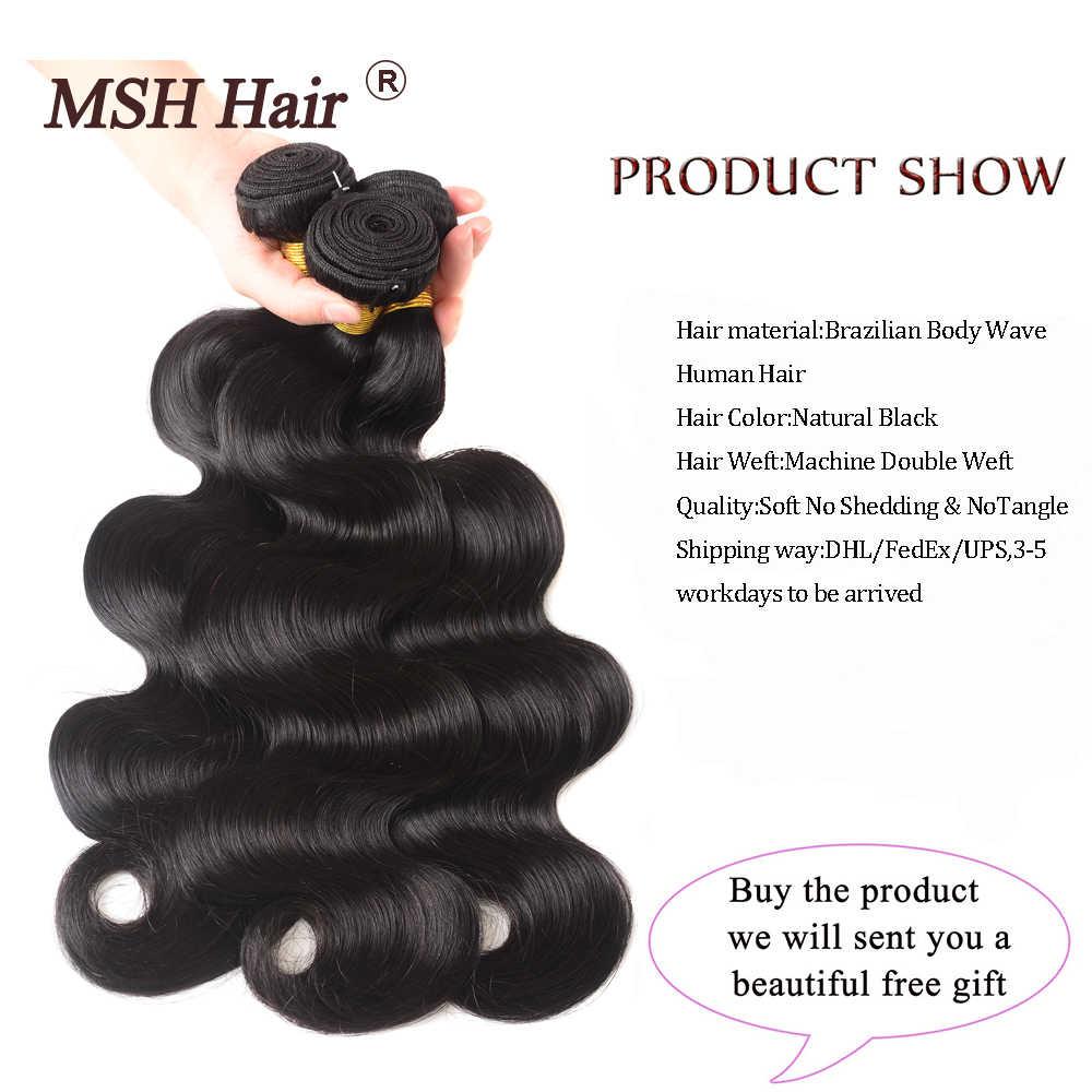 MSH cabello brasileño onda del cuerpo cabello humano armadura paquetes con 4*4 Cierre de encaje 130% densidad no Remy