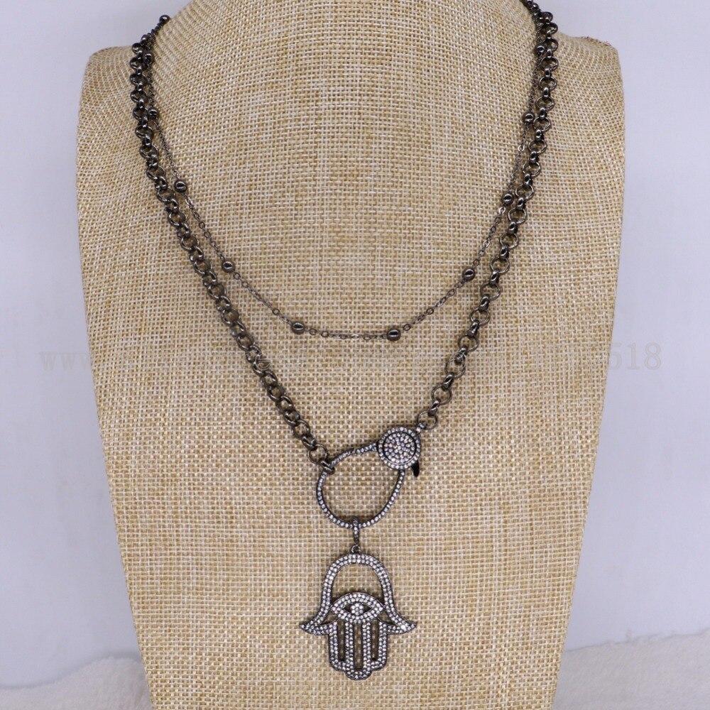 """Collier de mode 3 brins bijoux en gros bijoux fantaisie micro pavé 44 """"long collier bijoux pour femmes mix style 3337-in Colliers chaîne from Bijoux et Accessoires    2"""