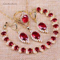 L B Vintage Round Red Garnet Gold Color Jewelry Sets Drop Earrings Bracelets Set Necklace Pendant