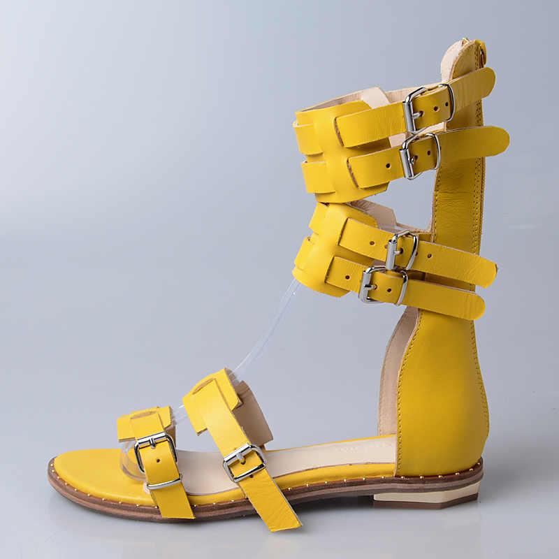 Retro sarı kadın hakiki deri gladyatör sandalet sapanlar düz ayakkabı kadın yaz botları rahat plaj daireler