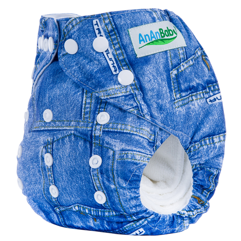 Ananbaby Printed Baby Diapers Washable Pocket Diaper Covers Newborn Cloth Diapers Reusable Nappy One Size Fit 3-15kg 1-2 Year