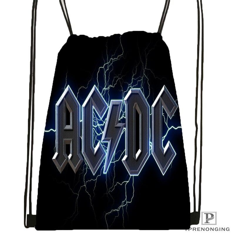 Custom  AC DC#1 Excellent Quality  Drawstring Backpack Bag Cute Daypack Kids Satchel (Black Back) 31x40cm#180531-02-13