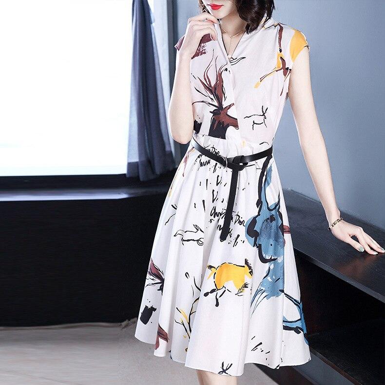 Nieuwe katoen print jurk Europese en Amerikaanse vrouwen dragen V kraag mouwloze taille taille lange 3924-in Jurken van Dames Kleding op  Groep 1