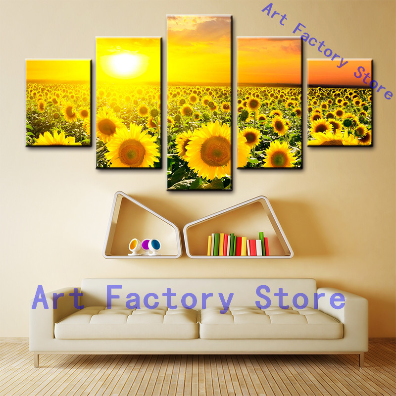 5 pieces HD Printed Sunflower Field On Canvas picture print Canvas Print on Canvas Decoration of Night Print Room