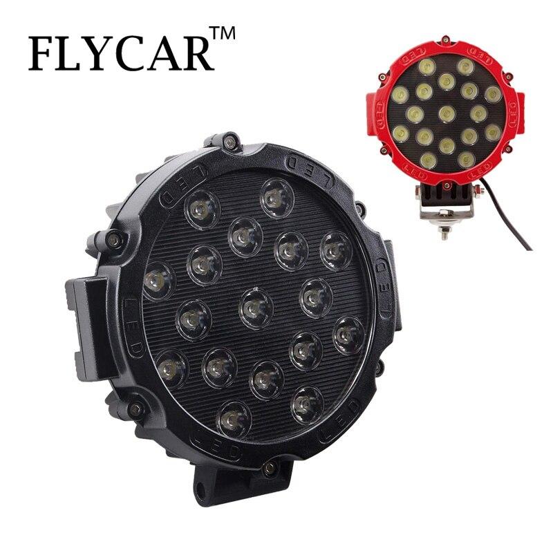 FLYCAR lumière LED barre 51w 7 pouces Spot faisceau lampe frontale LED lumière de travail hors route barre de lumière conduite brouillard lampe pour SUV bateau 4x4 Jeep