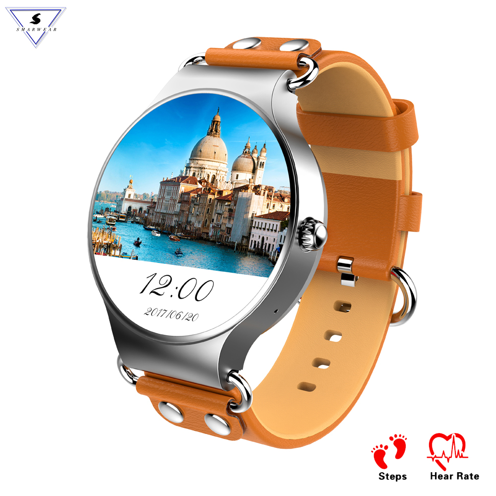 KW98 Fashion Cowhide Strap Smart Watch Bluetooth Weather Live Google Map 3G Phone Mic Pedometer Heart Rate Smart Band SIM WIFI