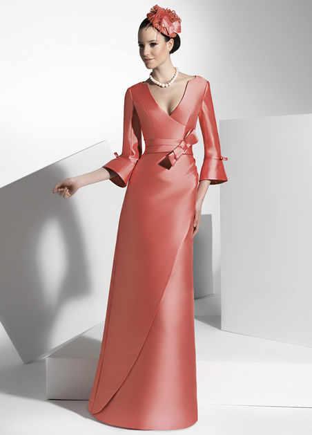 אונליין סקסי צווארון V שלושה רובע שרוול רצפת אורך Bowknot אמא של הכלה שמלות