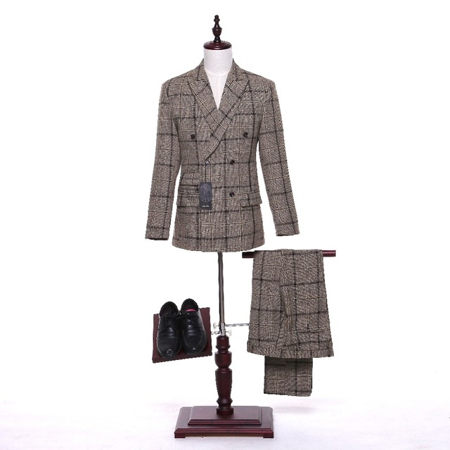 release date fc785 2f129 US $169.0 |Tweed Plaid Marrone Stock Men suit Blazer Stile Inglese Retro  Slim fit abiti da sposa per gli uomini 3 Pezzo (giacca + Pantaloni) in  Tweed ...