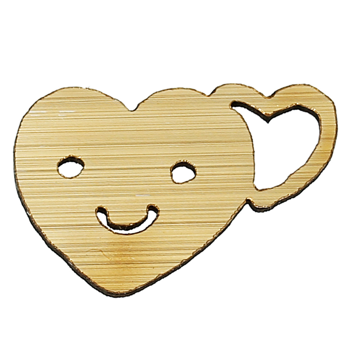 Wood Cabochons Scrapbooking Embellishments Findings Heart Golden Smile Hollow 25mm(1)x 16mm(5/8),50 PCs new
