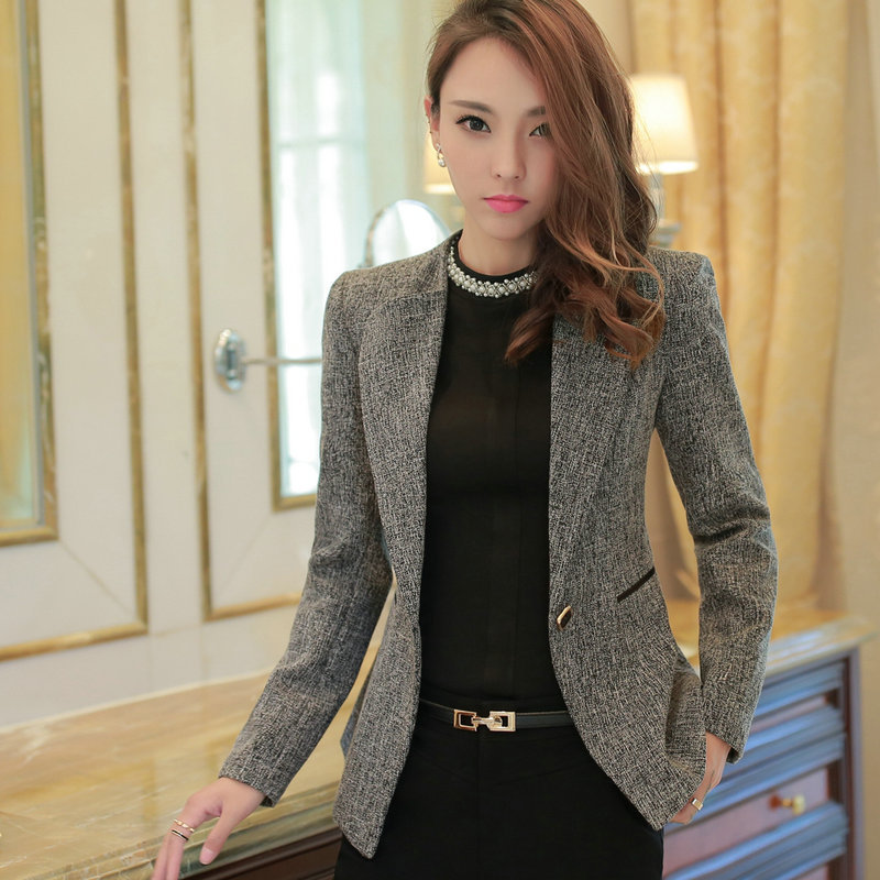 2017 Female Casual Suit ol Office Solid Slim Fit Blazer For Women Notched Formal Work Jacket Design Black Green Blazer