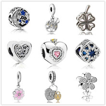 Btuamb Luxury Love Heart Flower Leaves Star Crystal Beads Charm Fit Pandora Bracelet & Bangle Necklace Gift DIY Jewelry Berloque(China)