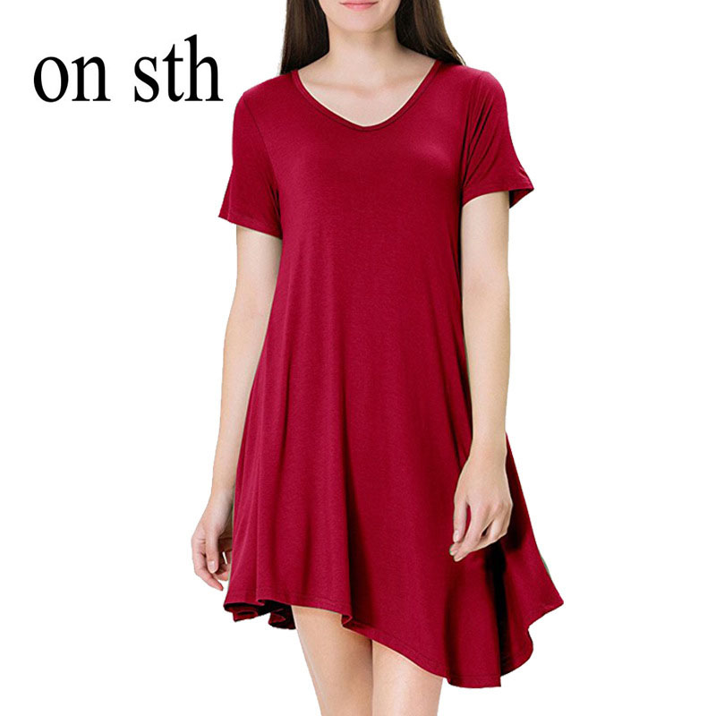 new summer Elegance and elegance o-neck knee-length casual short solid office lady sexy loose dress beautiful woman dress
