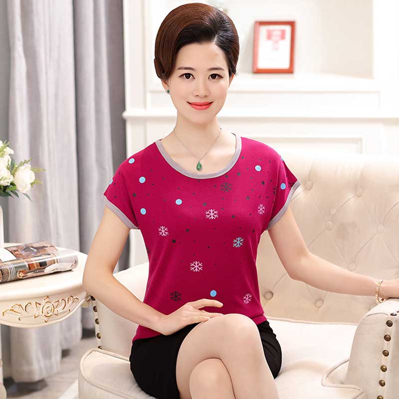 Middle-aged and old mother ZhuangYin snowflakes milan raglan cotton short sleeve T-shirt PCh