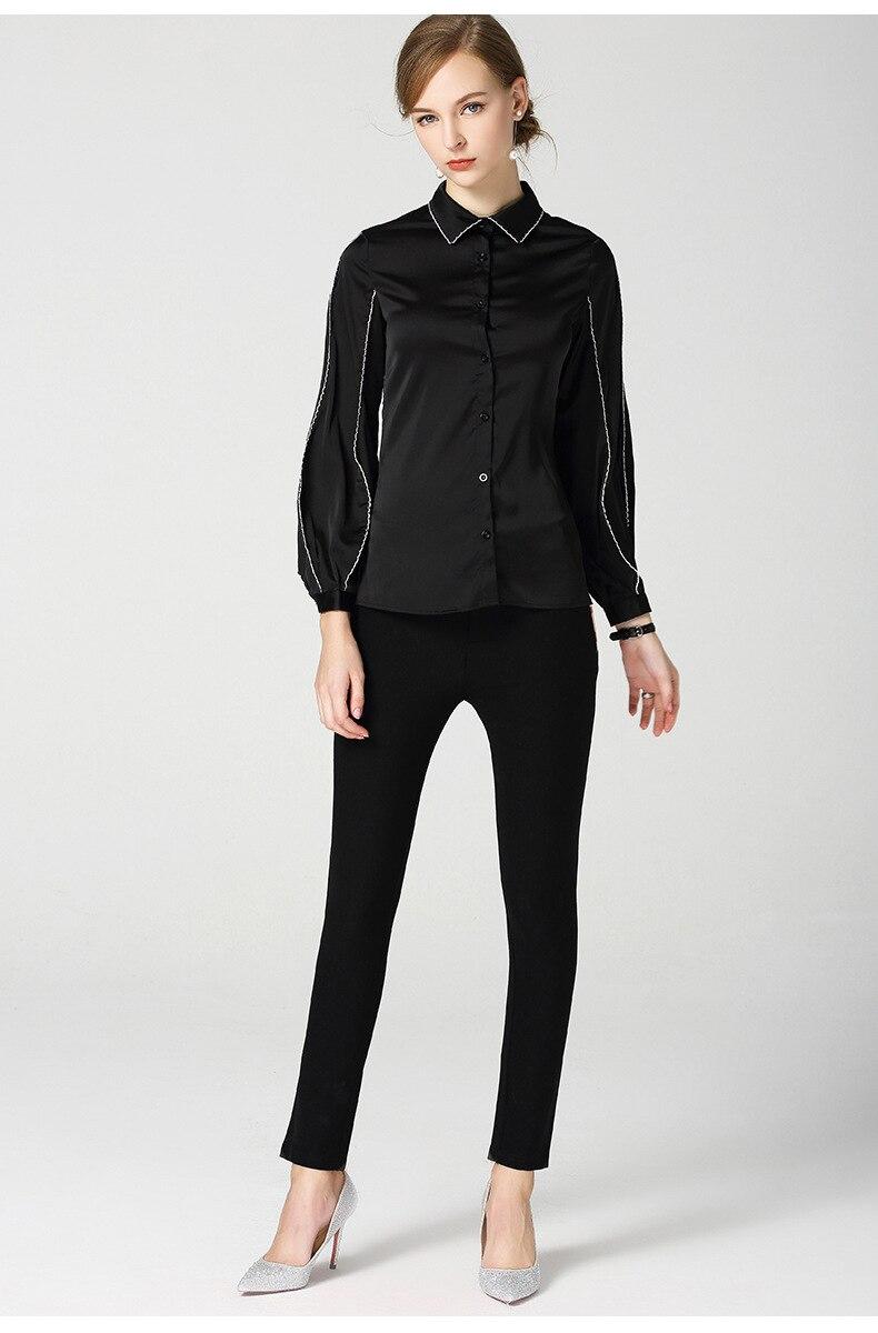 Nouveau 2018 aurumn revers manches bouffantes chemises noires femmes Chic à manches longues lâche Blouses hauts D344 - 4