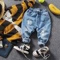 Sólo los pantalones vaqueros 1 unid 2-9Y digit jeans nuevos 2017 niños resorte de la manera niños otoño primavera denim pant niños pantalones vaqueros chicos pantalones