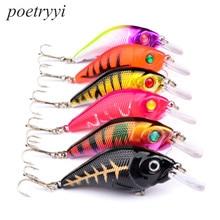 POETRYYI 1pcs 10.2g 7.5cm hooks 6# Crankbait Fishing Wobblers Hard bait Bass Spinner Lures 5 Colors  30