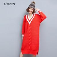 Long Sweater Women Winter Pullover Knitted Sweater Long Sleeve Outwear Autumn Winter 2017 Female Brand V