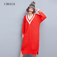 Long Sweater Women Winter Pullover Knitted Sweater Long Sleeve Outwear Autumn Winter 2017 Female Brand V