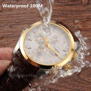 Image 3 - Meccanico automatico svizzera di marca degli uomini orologi da polso di moda di lusso cinturino in pelle orologio da polso impermeabile 100M orologio relogio reloj