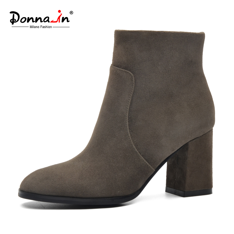 Donna-in women calf leather ankle boot genuine square leather toe ladies boots thick high heel shoes sfzb new square toe lace up genuine leather solid nude women ankle boots thick heel brand women shoes causal motorcycles boot