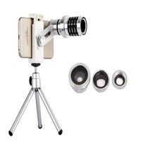 12X Telelens Lenzen 4 In 1 Telefoon Fish Eye Lens Universele brede camera lens ojo de pez voor iphone lens olho de peixe statief