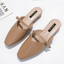 Luxury Elegant Soft Leather Mules Shoes Woman Solid Point Toe Low Heel Flat Ladies Outdoor Slippers Women Slides pantuflas 2019