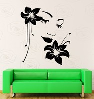 Wall Stickers Vinyl Decal Flower Girl Woman Face Modern Decor for Bedroom