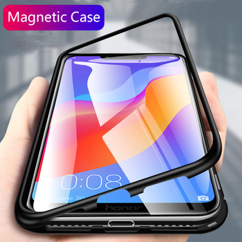 For huawei honor play case 6.3 magnetic flip clear tempered glass back cover metal frame protective coque funda for honor play