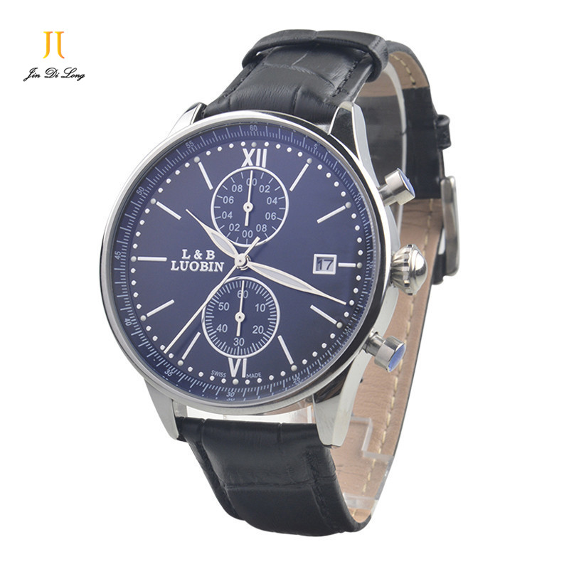 Brand Fashion Classic Business Casual Watch Men s Quartz Wirst Watches 2 Sub dial Calendar Genuine