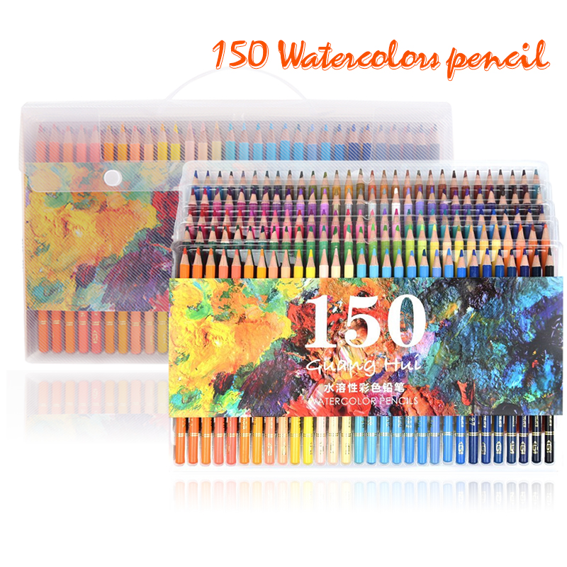 150 Colors Soft Watercolor Pencils Wood Water Soluble Coloured Pencils Set For Lapis De Cor Painting