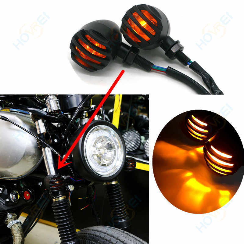 1 Pair retro Motorcycle black Metal Grill Bullet Turn Signal lamp Indicator Light For Harley Cafe Racer lamp Lights