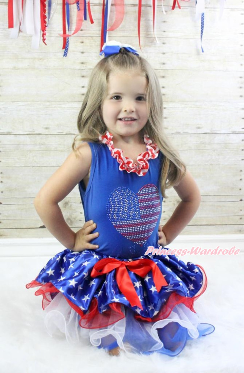 4th July Rhinestone USA Heart Girl Blue Top Patriotic Star Petal Skirt NB-8Y MAMH245 4th july america usa heart girls royal blue top bling sequins baby skirt 3 12m