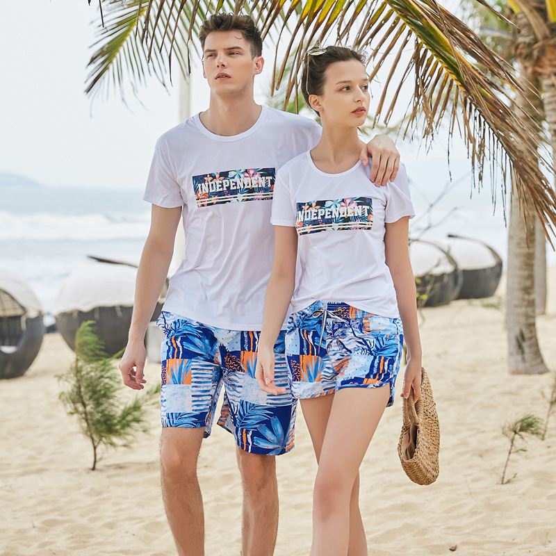 Men Shorts Slim Summer Chiffon Printing Beach Shorts Quick Drying Elastic Waist Board Shorts Men  GX1907