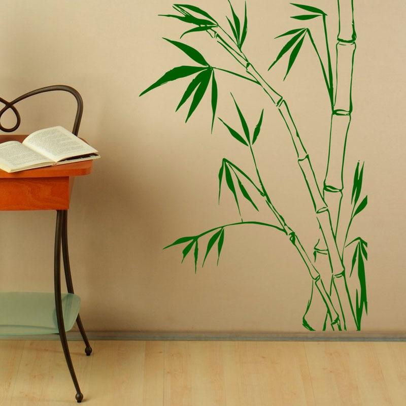 Настенные Стикеры с бамбуковыми листвами для домашнего декора, настенные художественные росписи, съемные настенные наклейки для гостиной, ...