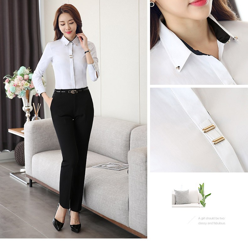 HTB1sJ7jLXXXXXXqXVXXq6xXFXXXX - Long sleeve shirt black white slim cotton blouse office ladies