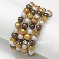 New Arriver Set Of 4 Multicolor Freshwater Pearl Stretch Bracelets 7 9mm Mixes 7.5'' Fashion Jewelry Wholesale Free Shipping