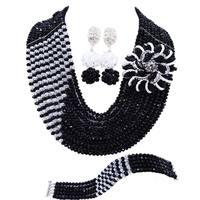 Romantic Black Transparent Nigerian Women Wedding Beads Necklace Crystal Jewelry Sets 10C CJZ 09