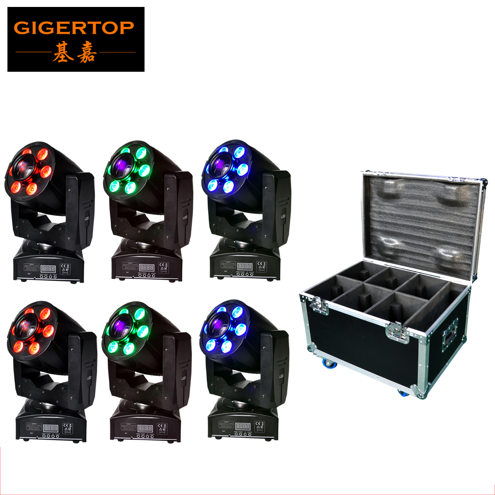 Road Case 6in1 Pack 1x30w + 6x8w Spot Wash Function LED Spot Gobo Moving Head Light Club Stage Disco Party Mini Led Spot Light niugul dmx stage light mini 10w led spot moving head light led patterns lamp dj disco lighting 10w led gobo lights chandelier