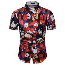Hip hop Social Shirt Men's clothing Short Sleeve Cartoon print Blouse men Slim Fit Shirt for Man New