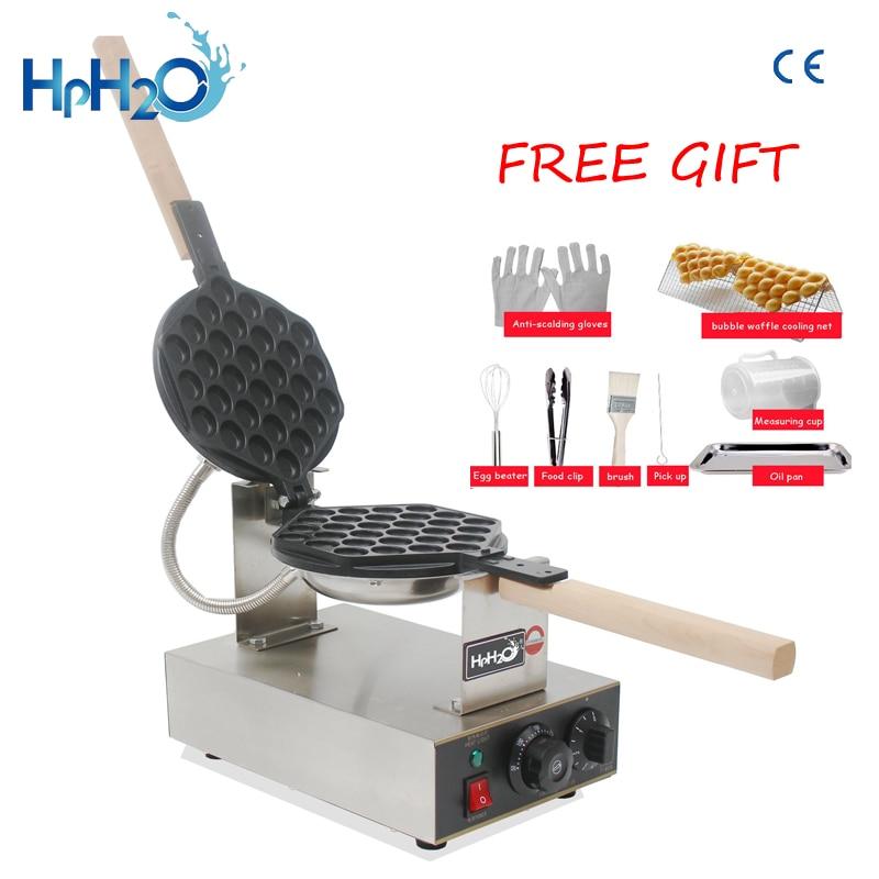 Commercial Electric 110V 220V Egg Bubble Waffle Maker Machine Hong Kong Eggettes Waffle Iron Cake Oven