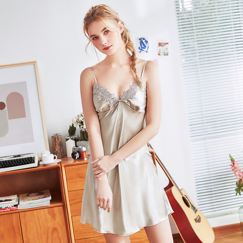 Sexy faux silk Women Mini Babydoll Lace Lingerie Summer NEw Perfect Underwear Satin Strap Home Dress Nightgown Sleepshirt M-XL