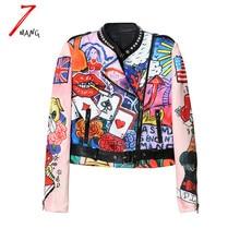 2016 autumn winter women street cartoon graffiti printing space cotton short jacket long sleeve slim rivet stand neck coat