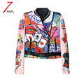 2017 autumn winter women street cartoon graffiti printing space cotton short jacket long sleeve slim rivet stand neck coat