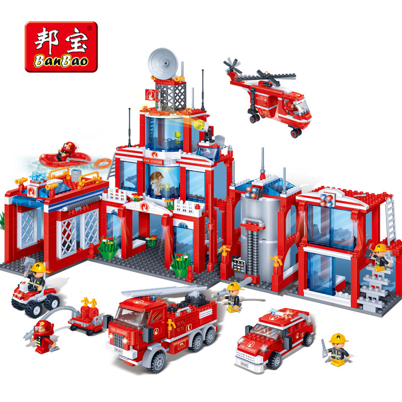 BanBao Fire Station Firefighters Truck Helicopter Building Blocks Educational Bricks Model Toy 8355 For Children Kids Friend