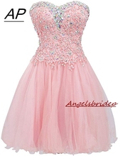 ANGELSBRIDEP Mezuniyet เสื้อยืด Elbiseleri Homecoming Dresses เซ็กซี่ด้านบนเข่าค็อกเทลชุดแฟชั่นคริสตัล MINI 8th เกรด PARTY Gowns