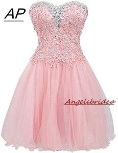Image 1 - ANGELSBRIDEP Mezuniyet Elbiseleri robes de retour Sexy au dessus du genou robe de Cocktail mode cristal Mini 8th Grade robes de soirée