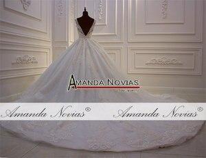 Image 5 - אמנדה Novias מותג למעלה איכות סדר מותאם אישית חתונת שמלת העבודה האמיתית תמונה 2020