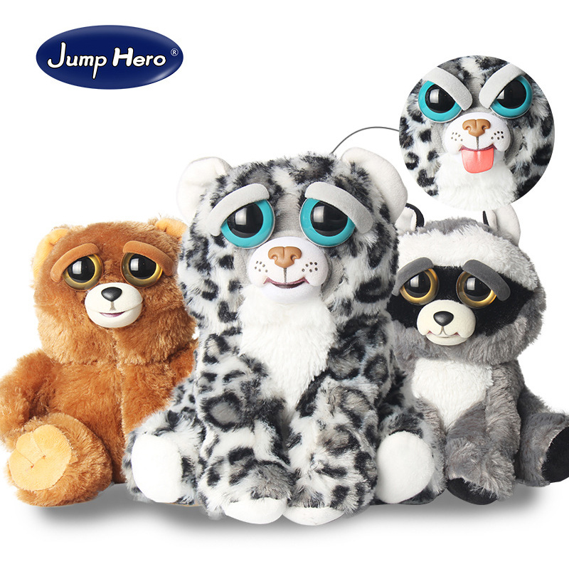 New Feisty Pets Change Face Funny Expression Animal Dolls Stuffed Plush Toys For Kids Cute Soft Cotton Christmas Gift Hot Sale 5pack 10pcs hot sale new cute silicone finger pointing bookmark book mark office supply funny gift