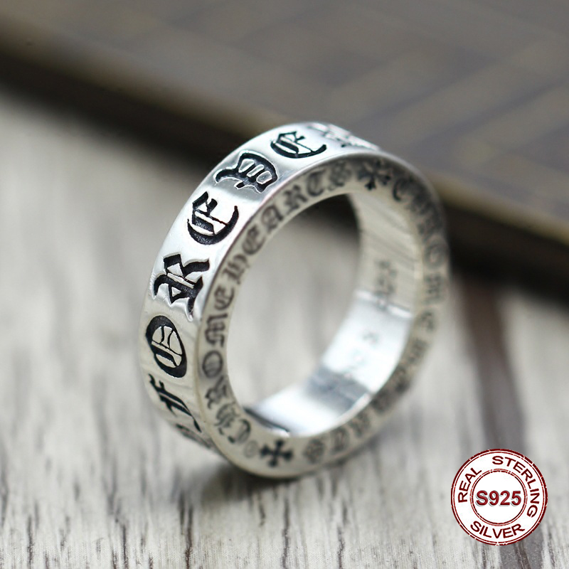 S925 pure silver men's ring personality Do old restoring ancient ways The punk style The cross - classic ring of men and women punk style pure color hollow out ring for women